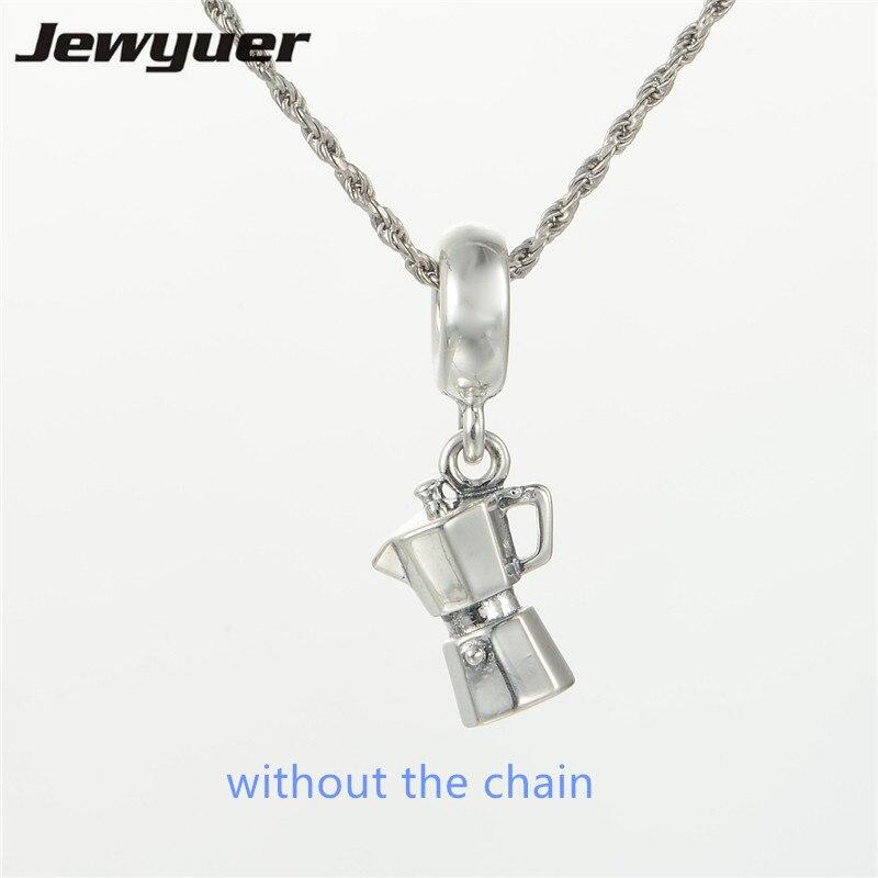 Silver Espresso dangle Charms 100% 925 Sterling Silver Coffee Pot Teapot charm Fit beads Bracelets Necklaces pendant DIY DA126