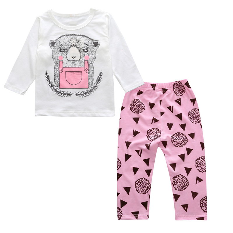 2018 Kids Suits Brand Baby Infant Clothes Baby Girls Boys Clothing Sets Spring Autumn Cartoon Bear Long Sleeve T shirts +Pants