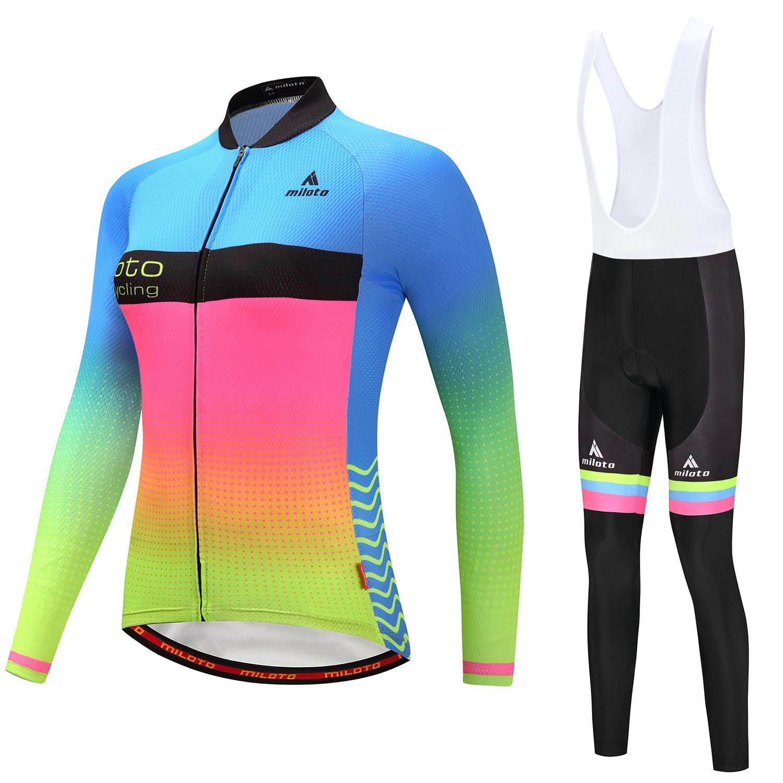 Miloto Велосипеды Джерси 4D гель площадку Длинные рукава Велосипеды одежда велосипедов спортивная QUICK-dry дышащий велосипед одежда ml48