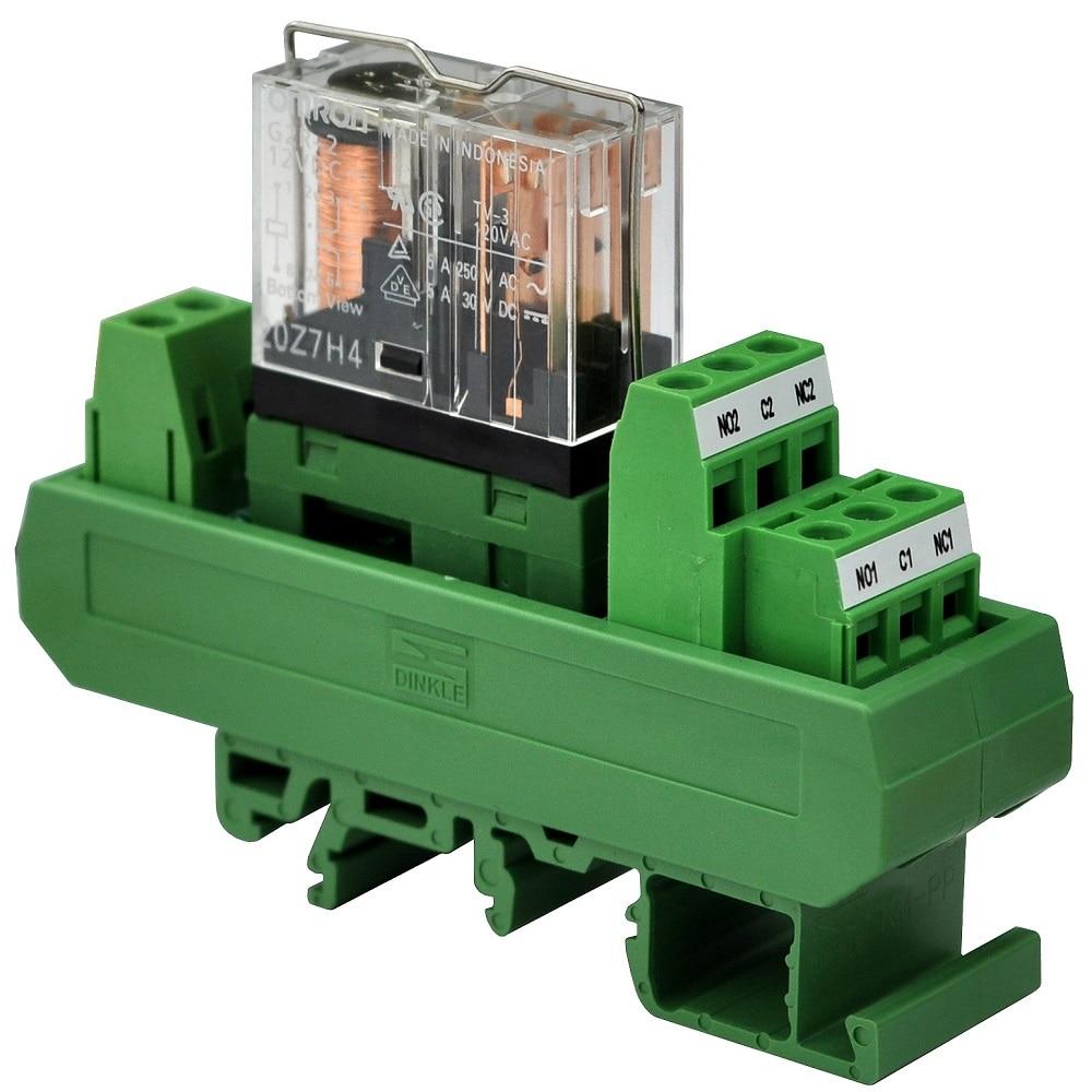 Electronics-Salon AC/DC 12V Slim DIN Rail Mount 5Amp DPDT Power Relay Interface Module, G2R-2 12V.
