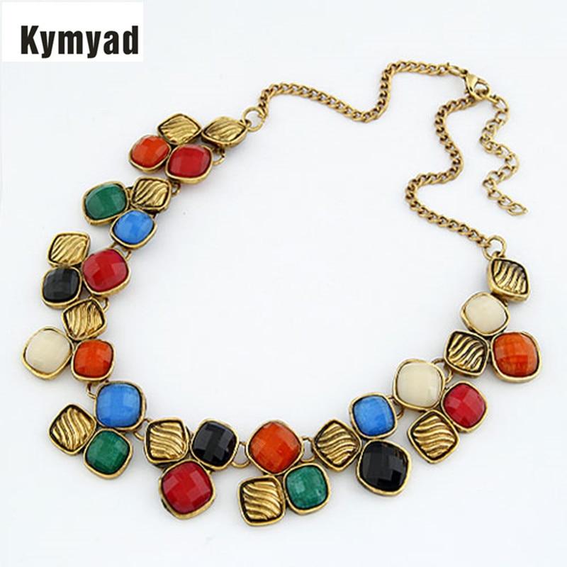 ᐃKymyad vintage joyería collar babero colores gema piedra Collares ...