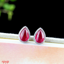 KJJEAXCMY S925 pure silver jewelry, fashion lady, water drop shaped red corundum earnail, hollowed out design, small and fresh. s925 pure silver wholesale contracted only beautiful lady topaz st2018 set of chains pure and fresh and euphemism