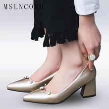 Plus Size 34-47 Fashion Sexy Lady High Heels Shoes Slip-on Women Pearls Crystal Pointed Toe Thick Heels Party Wedding Dress New стоимость