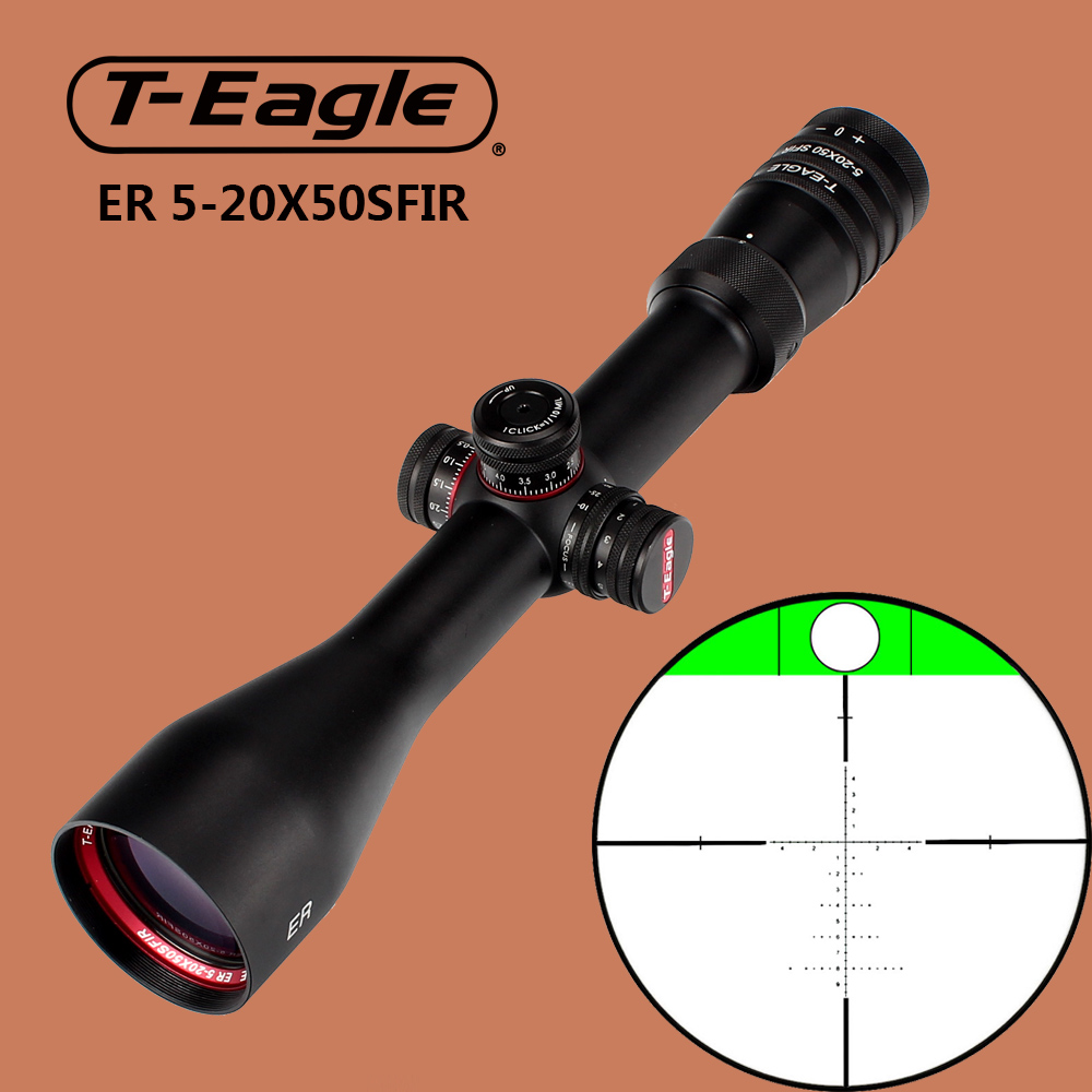 T-Eagle ER 5-20X50 SFIR Hunting Riflescope Tactical Optical Sights Glass Etched Reticle Side Parallax Scope Built-in Bubb Level t eagle 6 24x50 sffle riflescope side foucs rifle scope with spirit level tactical long range rifles airsoft air gun