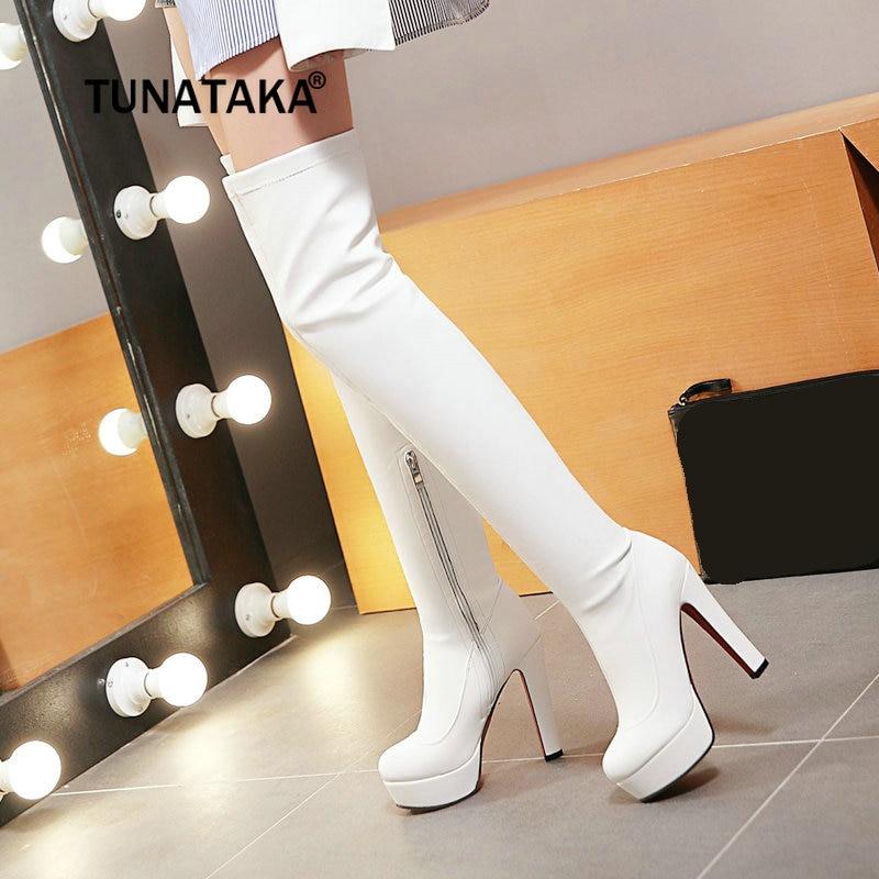 Femmes Plate-Forme Chunky Haut Talon Sur Les Bottes Au Genou Côté Fermeture Éclair Hiver Chaud Cuisse Bottes Mode Femme Chaussures Blanc Noir