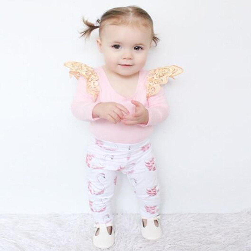 Baby girl clothes long sleeve Pink Tops T-shirt+ Leggings 2pcs Little Swan suit Cotton Infant girls clothing baby romper sets ...
