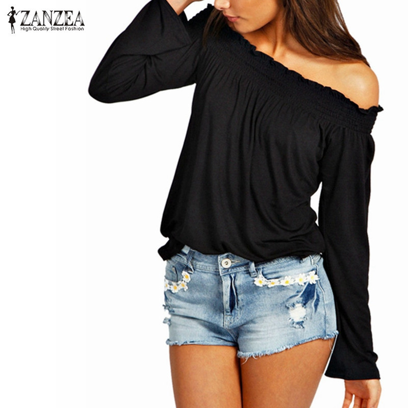ZANZEA Summer Blusas Femininas 2019 Autumn Sexy Women Blouse Ladies Tunic Shirred Off Shoulder Tops Casual Long Sleeve Shirt