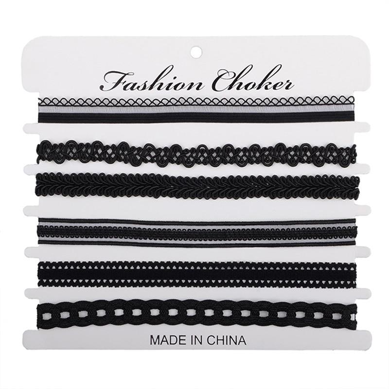8 pcs/pack Charm Black Velvet Lace Multilayers Pendant Choker Necklace Women Collar Necklace Party Jewelry Neck Accessories