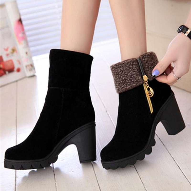 Frosted leather High-heeled thick bottom women boots Black, Red martin autumn winter girl Shoes pumps ayakkab bottes