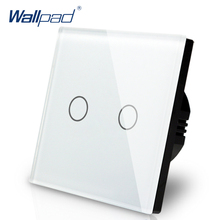 New Arrival Wallpad EU UK 110V 220V 2 Gangs 2 Way 3 Way Position White Glass Panel Touch Button Wall Lights Switch Power Supply