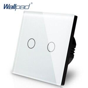 Image 1 - 新到着 Wallpad EU 英国 110 V 220 V 2 ギャング 2 ウェイ 3 方法位置白ガラスパネルタッチボタン壁ライトスイッチ電源