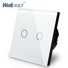 ใหม่มาถึง Wallpad EU UK 110 V 220 V 2 แก๊ง 2 WAY 3 WAY ตำแหน่งแผงกระจกสีขาวปุ่มสัมผัสไฟแหล่งจ่ายไฟ