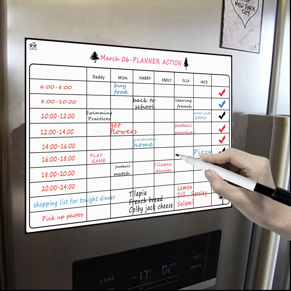 Magnetic Dry Erase Calendar Board for Fridge A3 16.5''x11.8'' Weekly Magnetic Whiteboard Planner Board Magnetic Fridge