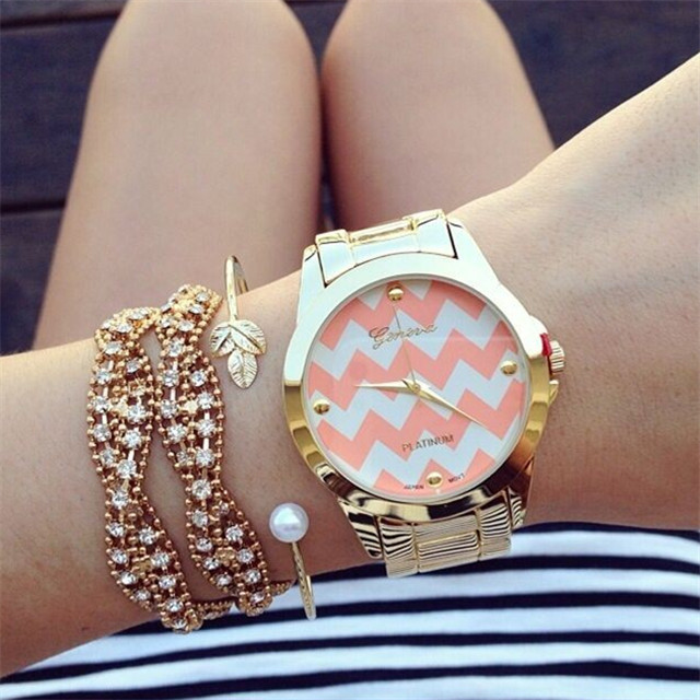 2017 New Gold Silver Stainless Steel Wave Stripe Design Geneva Watch For Women Quartz Dress Chevron Bracelet In S Watches From
