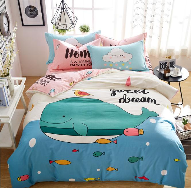 new cartoon animal blue whale twin full queen size bedding set kids bed sheet duvet cover pillow. Black Bedroom Furniture Sets. Home Design Ideas