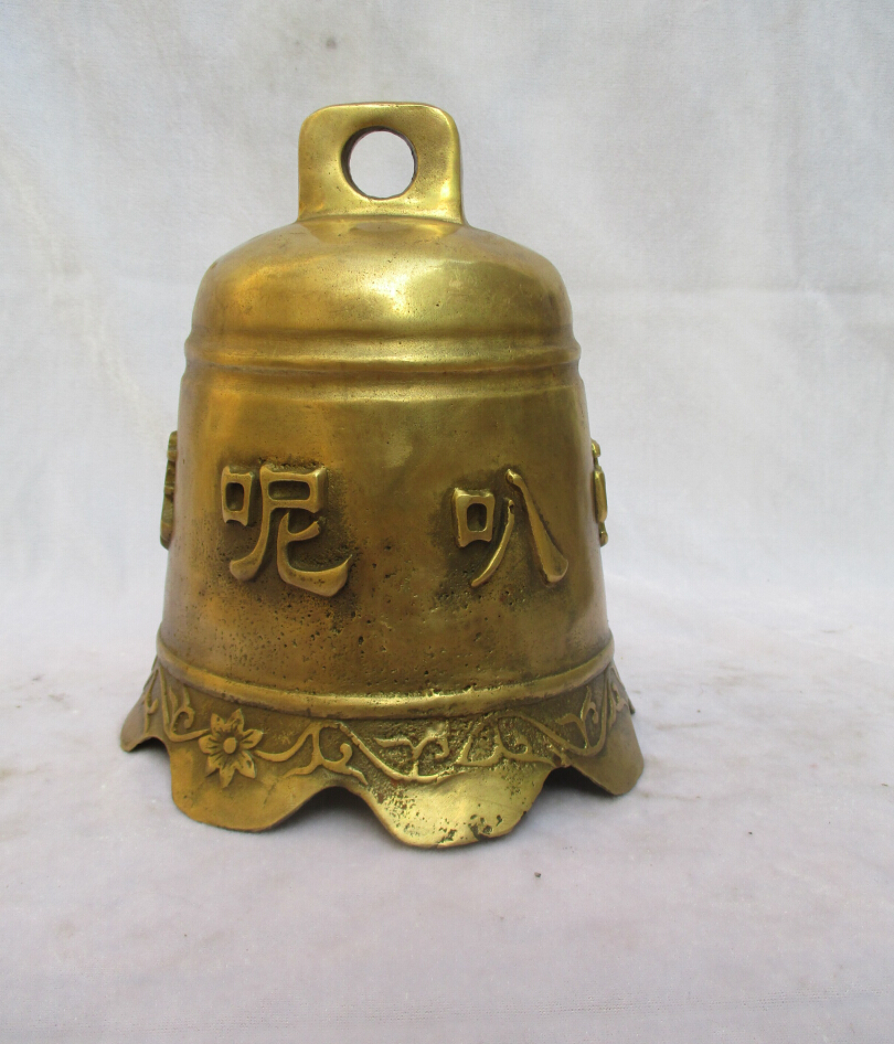 Collectible Tibet Brass Carved Buddhism Bell Sculpture /Antique Bell From Tibet Temple