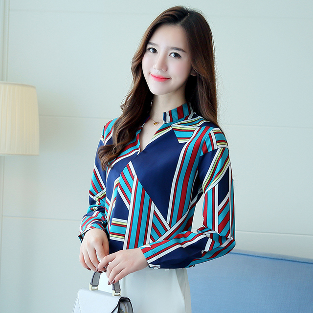 2017 new arrival female blouse elegant fashion women Office Wear Sexy Blouse Striped long Sleeveless Chiffon blouse 1209J 30
