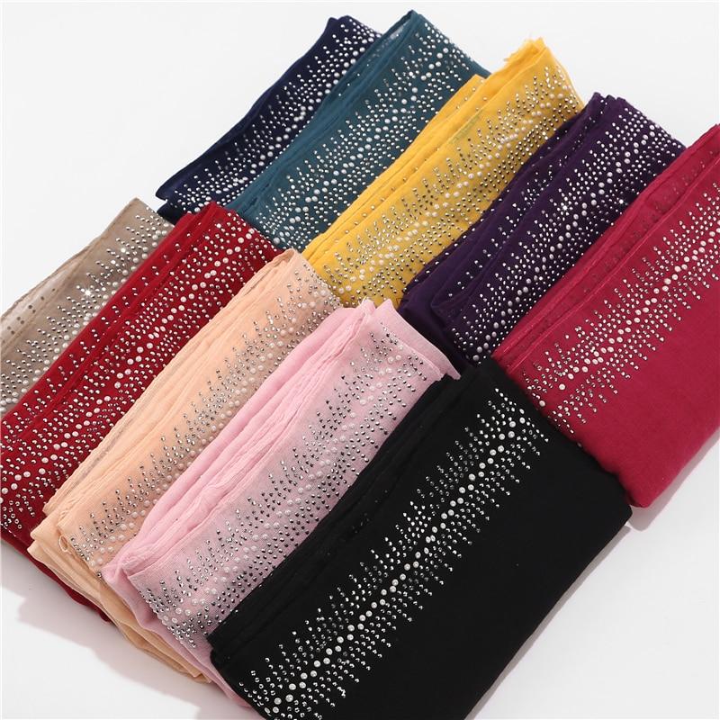 10pc/lot Viscose Soft Cotton Scarf With Diamond Women's Plain Pearls Hijab Scarf Female Hijab Scarf Shawl Wrap Muslim Hijabs