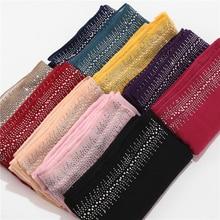 Bufanda de algodón suave con diamantes para mujer, Hijab femenino, musulmán, 10 unidades/lote