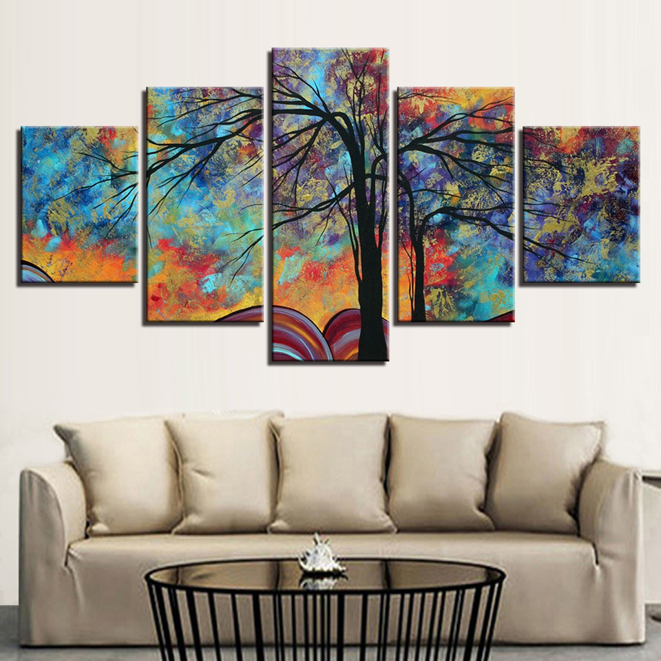 Canvas Painting HD Prints Home Decor 5 Pieces Bedside Background Wall Art Tree Modular Pictures Artwork Abstract Poster Frame