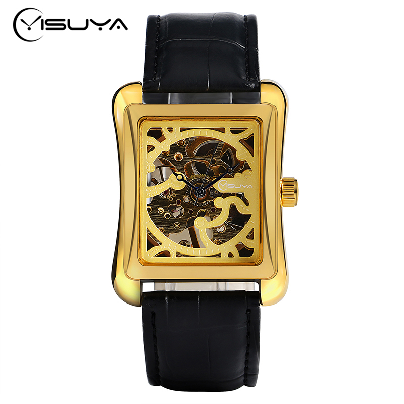 YISUYA Luxury Brand Men Golden Watches Automatic Mechanical Watch Rectangle Skeleton Clock Military WristWatches Leather Strap 10pcs white canbus t10 194 168 w5w led 3 smd xpb chipsets wedge light 12v extremely bright led with error free