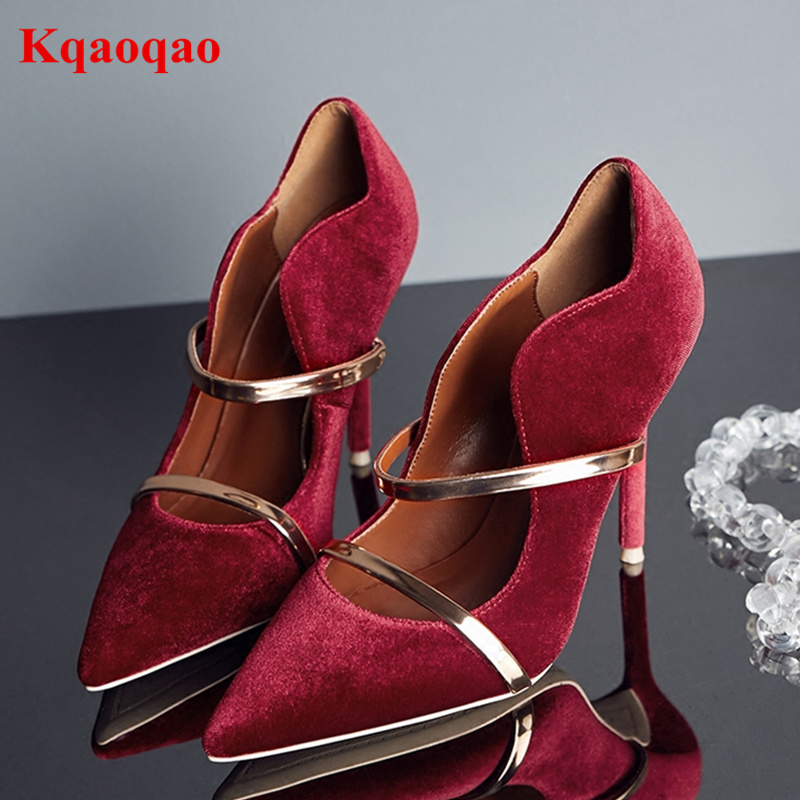 Kid Suede Women Pumps High Thin Heel Stiletto Metal Decor Women Spring Autumn Wedding Party Dress Brand Shoes Zapatos Mujer burgundy gray saphire blue pink women dress party career work shoes flock shallow mouth stiletto thin high heel pumps