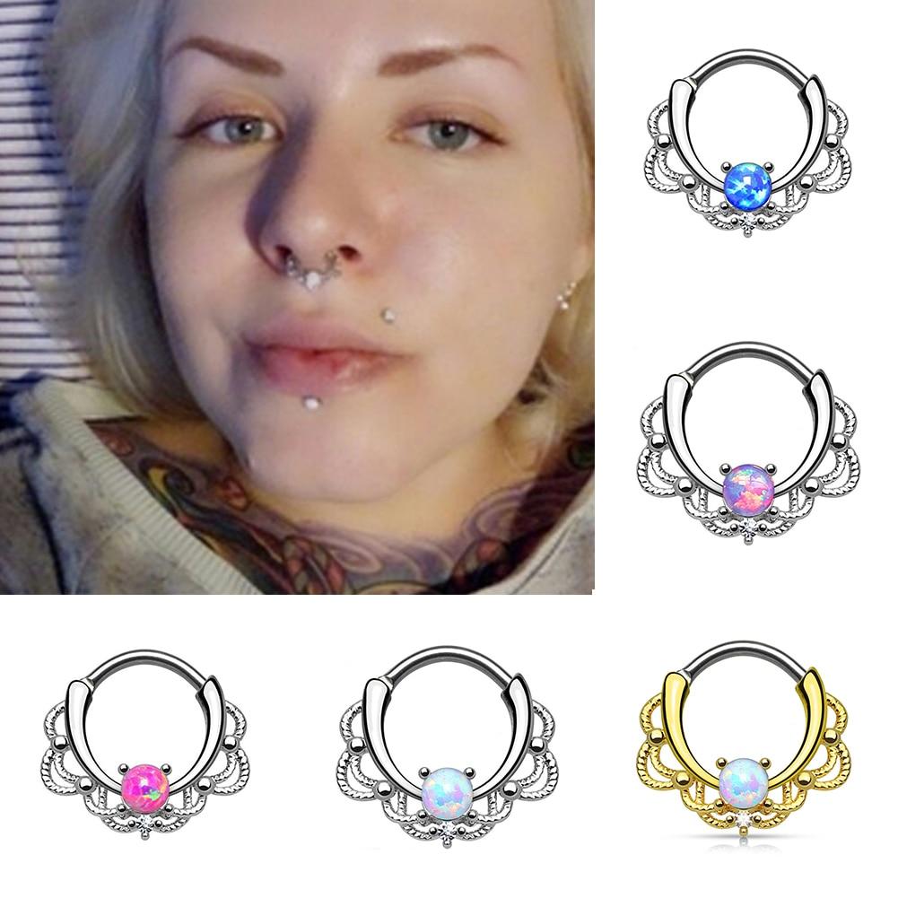 1pc Single Opal Stone Hinged Septum Clickers Titanium Shaft 10g
