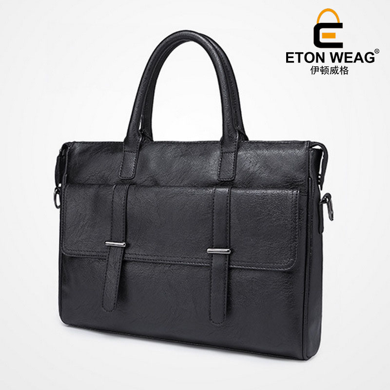 ETONWEAG Brand Leather Messenger Bag Men Leather Black Zipper Vintage Laptop Bag Designer Handbags High Quality Business Handbag etonweag brands italian leather designer handbags high quality black zipper men messenger bags man business shoulder laptop bag