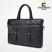 ETONWEAG New 2017 men famous brands Italian leather black crossbody luxury laptop shoulder bags zipper business style handbags