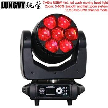 Livraison gratuite Zoom lumière principale mobile 7x40 w Led lavage lumière RGBW 4in1 Dmx contrôle pour Dj Par fête étape lumière lavage effet