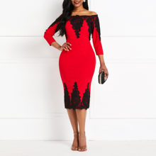 2019 New Party Sexy Lace Bodycon Dress Women Off Shoulder Elegant Evening Spring Club Slim Ladies Red Casual Office Midi Dresses(China)