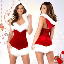 Sexy Christmas Santa Costume Party Fancy Dress Stage Uniform Women Strapless Outfit Cosy Red Velvet White Artificial Fur Cap