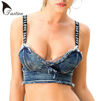 TASTIEN New Sexy Women Camis Tops Summer Denim Cotton Tassel Short Party Crop Top Camis Fall