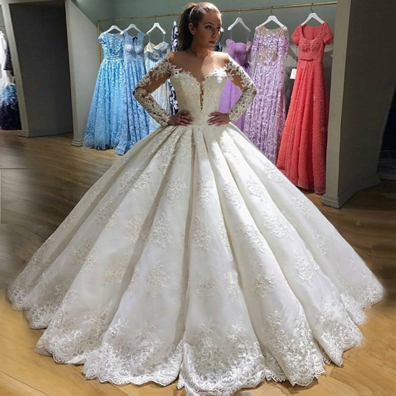 Ball Gown Long Sleeves Lace Wedding Gowns Sheer Neck Off