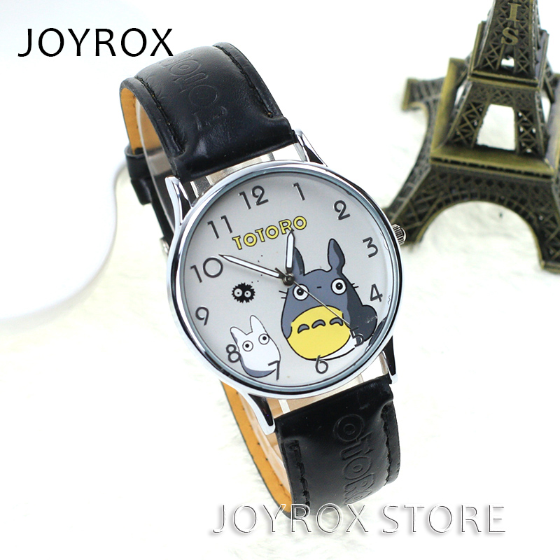 JOYROX Fashion Totoro Pattern Lovers Polshorloge Hoogwaardige lederen band Dameshorloge 2018 Hot Girls Clock relogio feminine