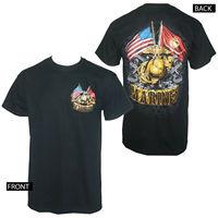 Gildan Licenza MARINE CORPS Doppia Bandiera Oro Globe Black T-Shirt da Uomo M-3XL t-shirt NUOVI uomini