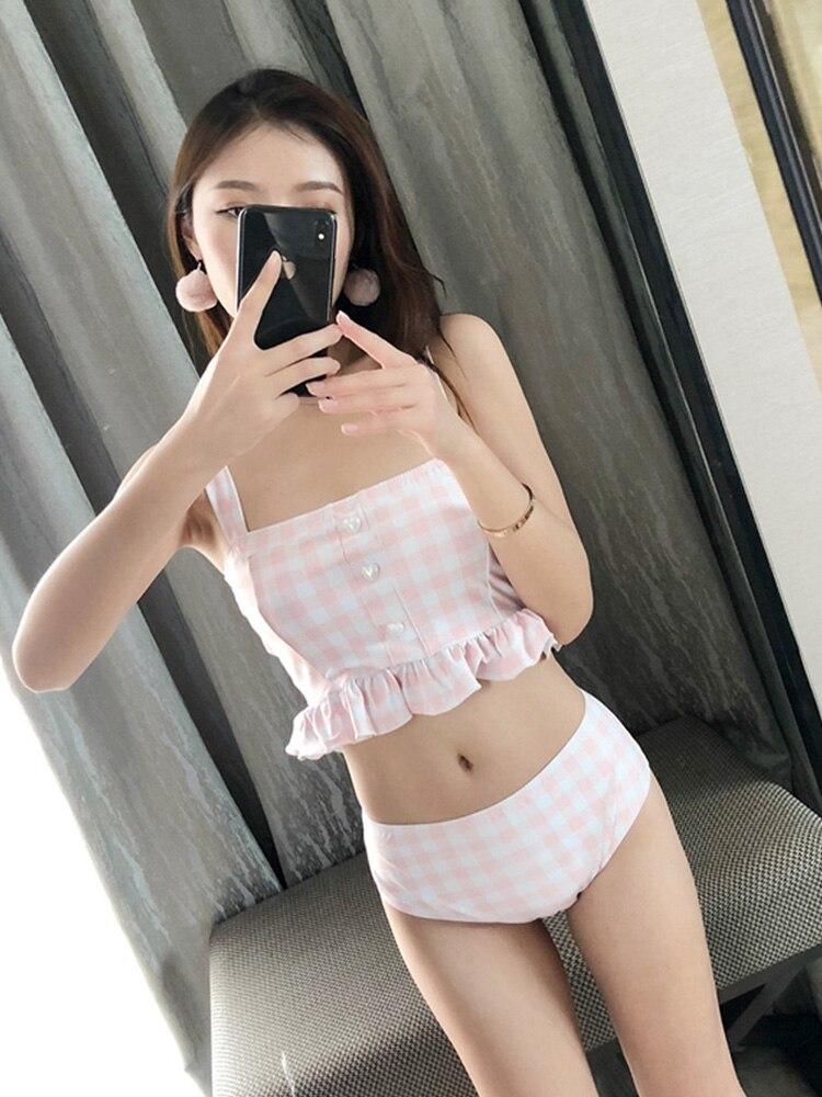 Pink Plaid Square Neck Strap Swimdress With Shorts Skirt M-XL  Swimwear Tankini Sets Swimsuit And Free Gift Swimming