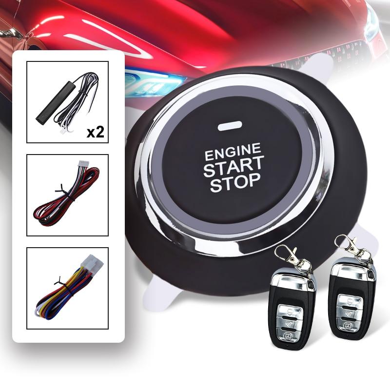 1 Set système d'alarme Auto en toute sécurité PKE entrée sans clé verrouillage centralisé bouton poussoir allumage moteur démarrage/arrêt moteur à distance universel - 2