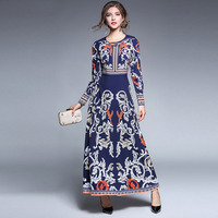 Long Dress lady Autumn Long Sleeve Printed Luxury European Russian Style Women Traditional Retro Clothing Elegant Party Dresses