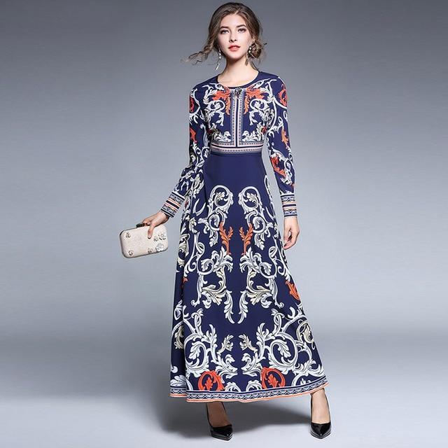 timeless design 52763 f96e9 US $44.65 5% di SCONTO|Vestito lungo della signora Autunno Manica Lunga  Stampata Donne di Stile Europeo di Lusso Russo Tradizionale Retro Vestiti  ...