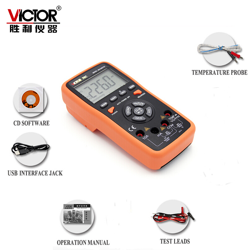 VICTOR VC70C 6000 Counts Key Touch Auto Range 10A Resistance Capacitance Frequency Temperature Digital Multimeter with USB 1 pcs mastech ms8269 digital auto ranging multimeter dmm test capacitance frequency worldwide store