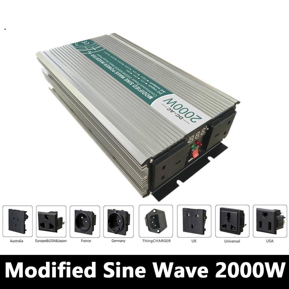 2000 W Onde sinusoïdale Modifiée Onduleur, DC 12 V/24 V/48 V À AC 110 V/220 V, hors Réseau Onduleur Travail Avec Solaire Vent Batterie Panneau