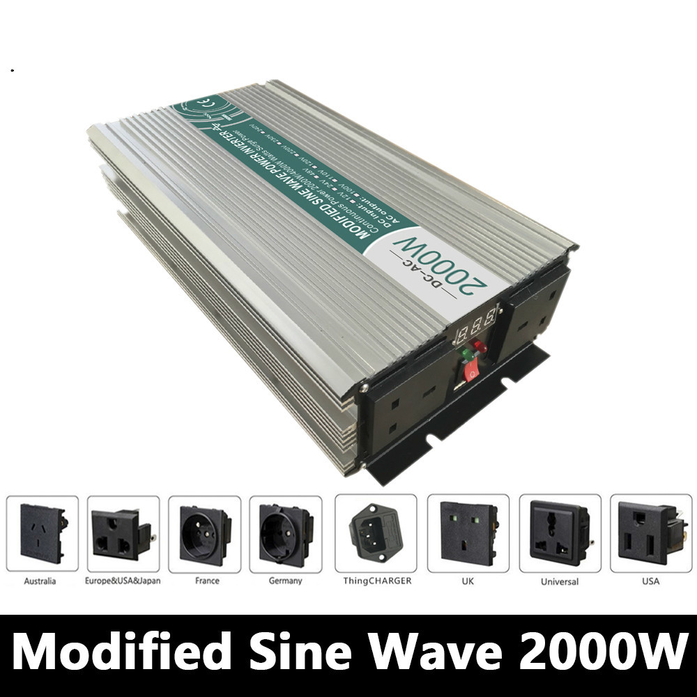 2000W Modified Sine Wave Inverter,DC 12V/24V/48V To AC 110V/220V,off Grid Power Inverter Work With Solar Wind Battery Panel maylar 22 60vdc 300w dc to ac solar grid tie power inverter output 90 260vac 50hz 60hz