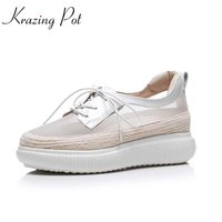 Krazing Pot New Cow Leather Patchwork Summer Shoes Breathable Shopping Round Toe Vitality Women Vulcanized Increased