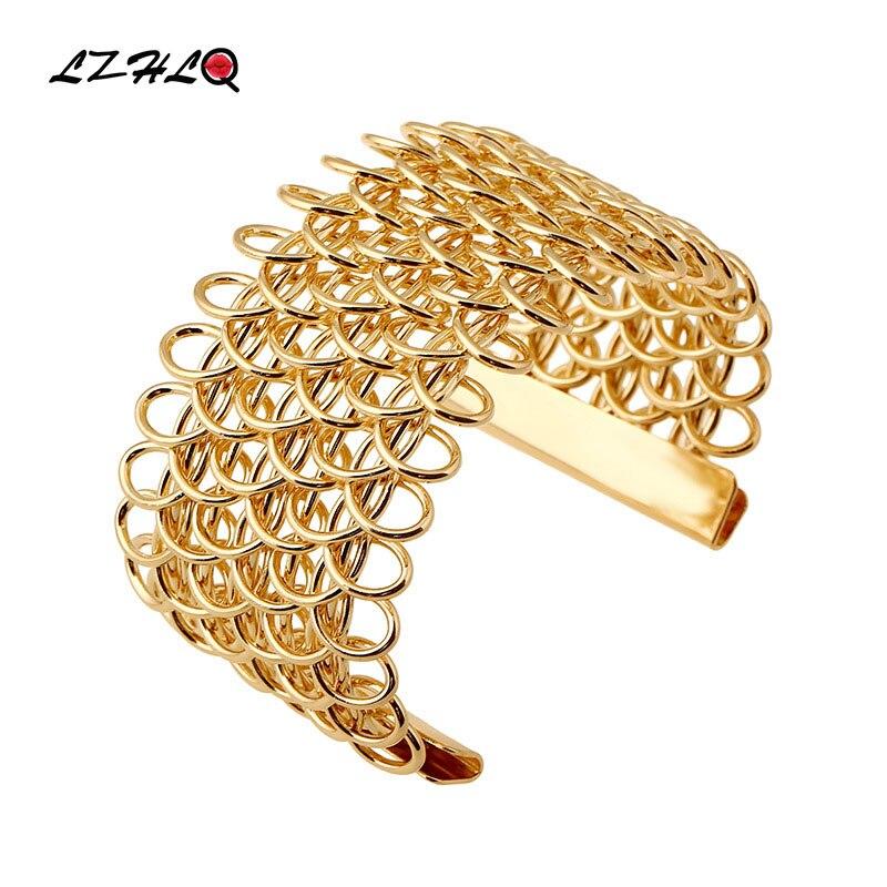LZHLQ Trendy Hollow Cuff Bracelets 2019 Fashion Women Wristband Maxi Metal Punk Jewelry Plated Wide Opening Adjustable Bangles