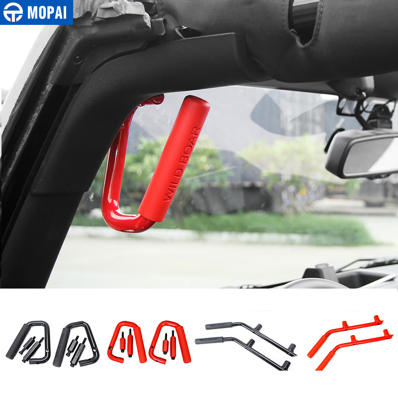 MOPAI Aluminium Alloy Car Interior Armrest 2/4 Doors Front & Rear Grab Handle For Jeep Wrangler 2007 Up Car Styling 2pcs new car red solid steel front grab handles with power coated surface resist rust for jeep wrangler 2 4 door 2007 2015