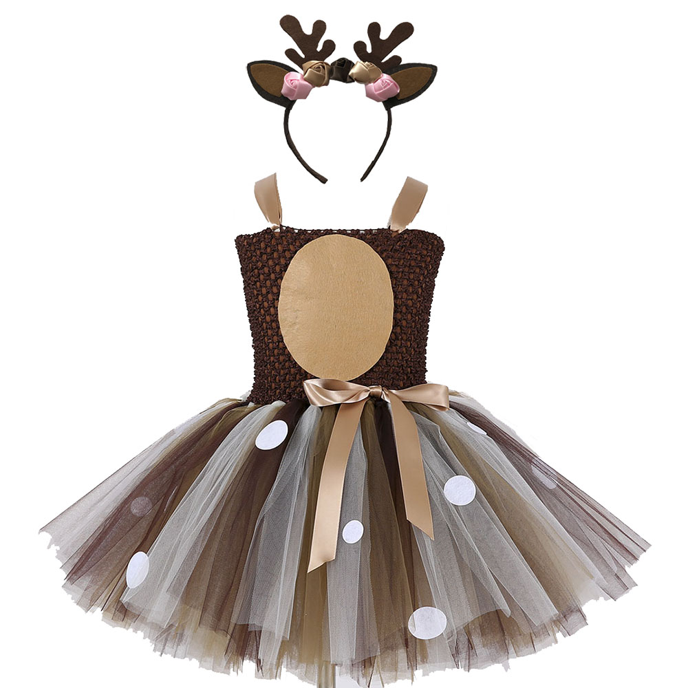 Girls Reindeer Dress Up Costumes Children O-neck Pattern Solid Dress Christmas Birthday Party Kids Dresses for Girls Ball Gown (1)