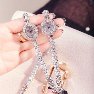 Image 4 - Volledige Crystal Royal Crown Dame Vrouwen Horloge Japan Quartz Uur Fijne Mode sieraden Klok Armband Luxe Meisje Gift