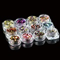 High quality 12 Nail Art Glitter Round Shapes Confetti Sequins Acrylic Tips UV Gel B Style Sale By 12jar/set