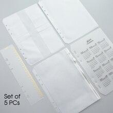 MaoTu 5 PCs/Set Loose Leaf Transparent PVC Zipper Case Storage & Organizer Bag for Spiral Notebook Accessories A5 A6
